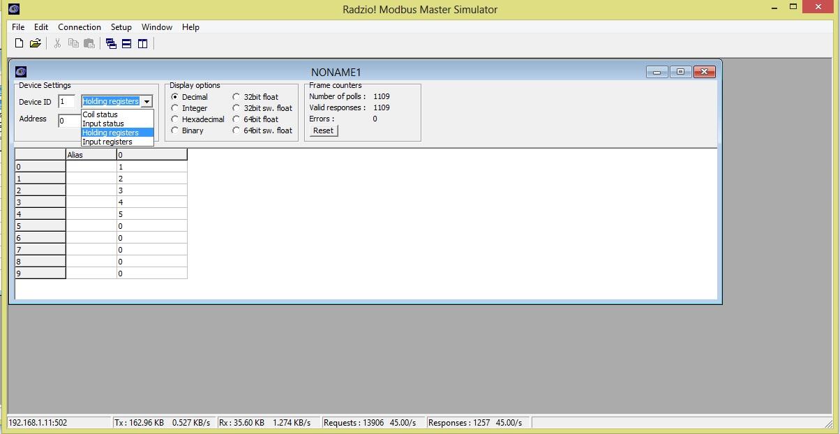 Simply modbus modbus rtu/ascii master test software.